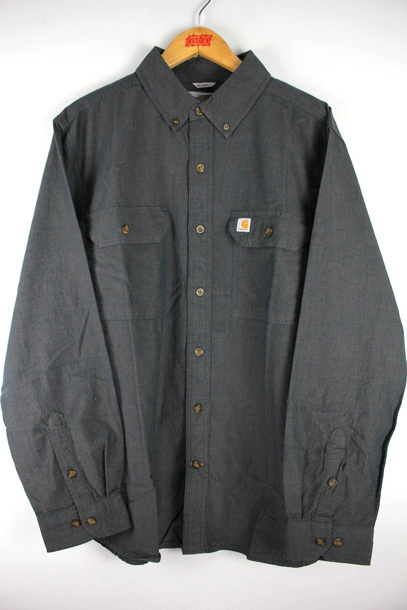 CARHARTT / RELAX FIT BUTTON DOWN CHAMBRAY SHIRTS / black
