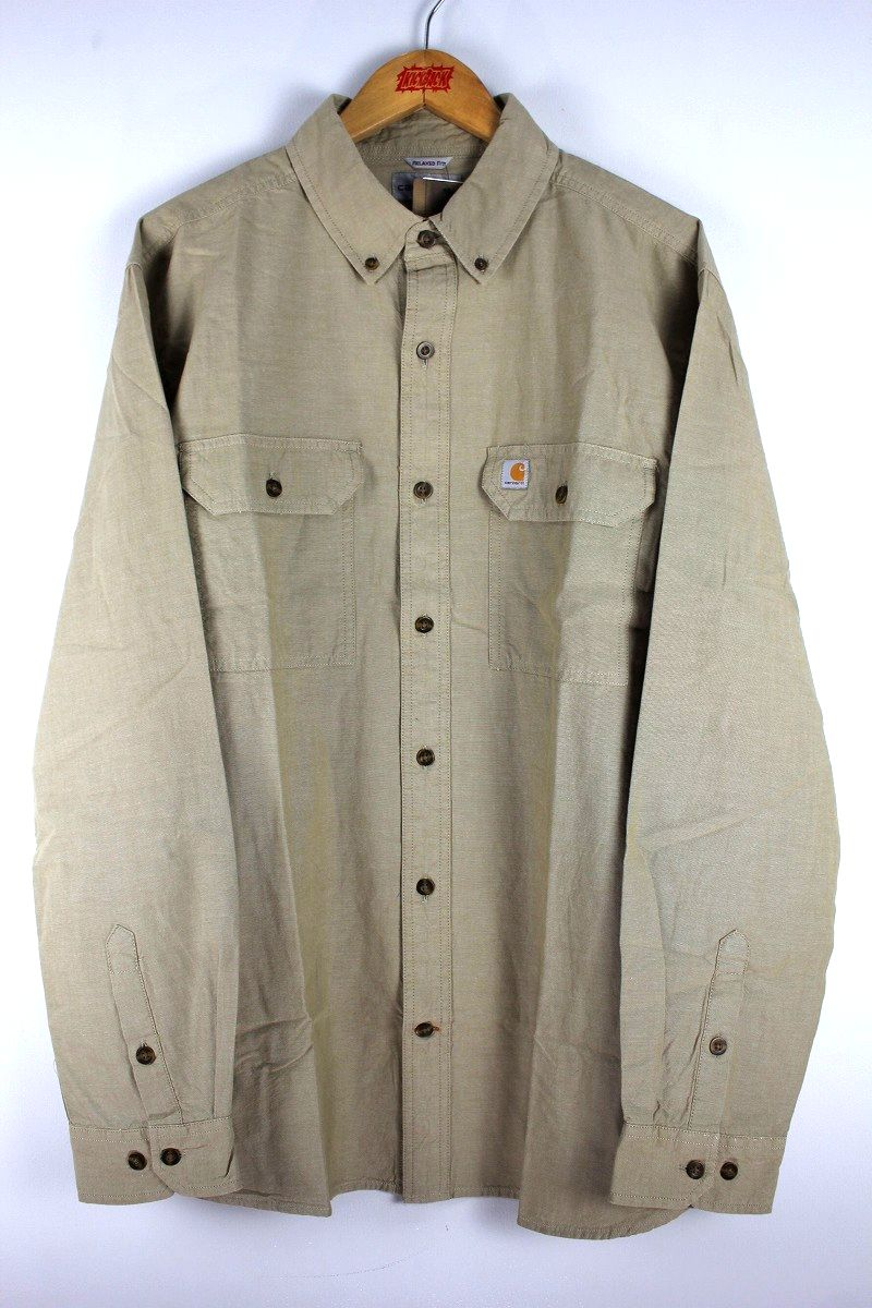 CARHARTT / RELAX FIT BUTTON DOWN CHAMBRAY SHIRTS / sand