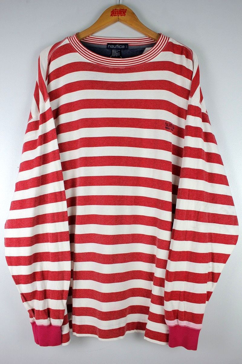 USED!!! NAUTICA / BORDER LS Tee (90'S) / red×white