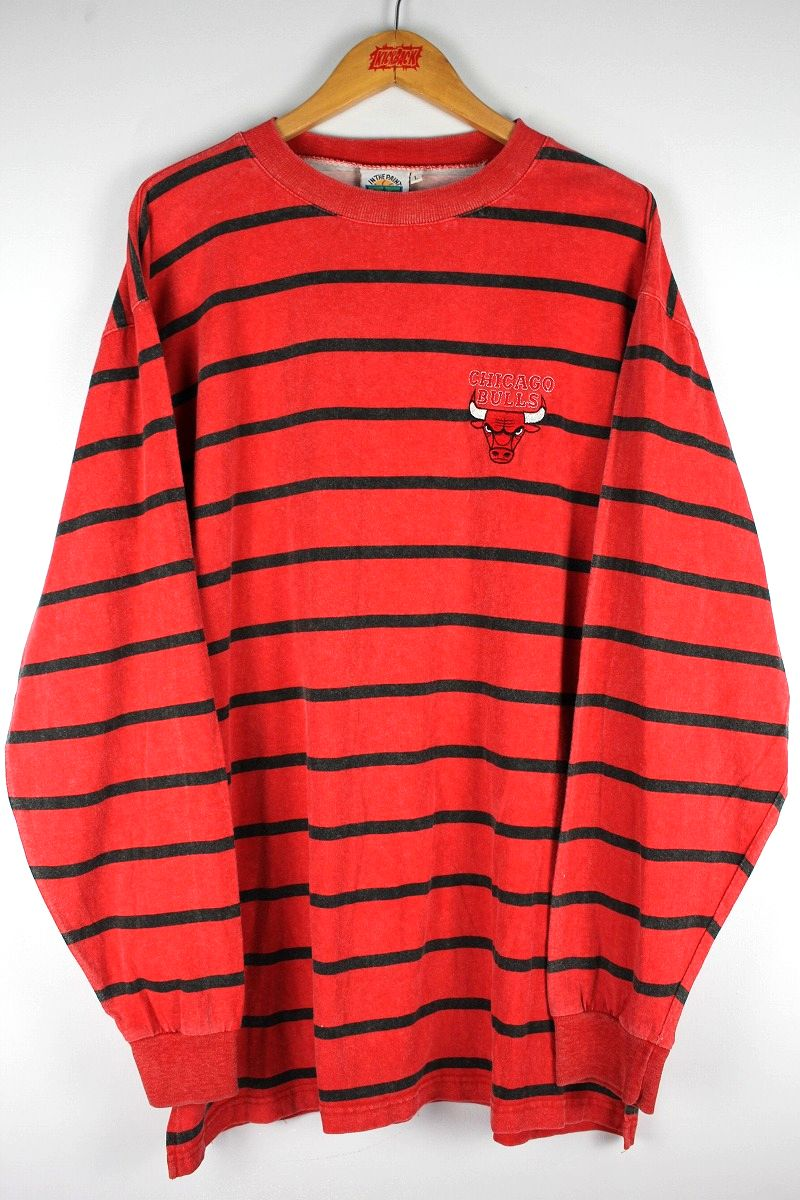"""USED!!! IN THE PAINT / """"CHICAGO BULLS"""" BORDER LS Tee (90'S) / red×black"""