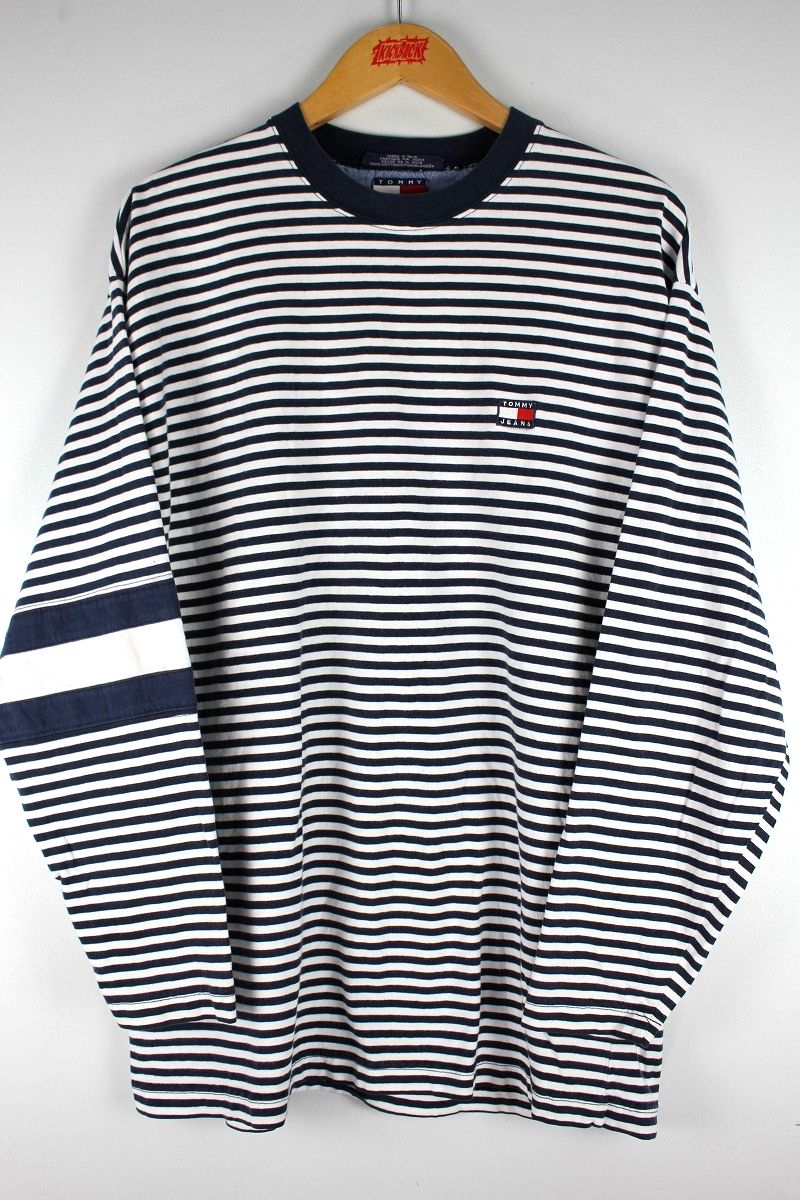 USED!!! TOMMY HILFIGER / BORDER LS Tee (90'S) / navy×white