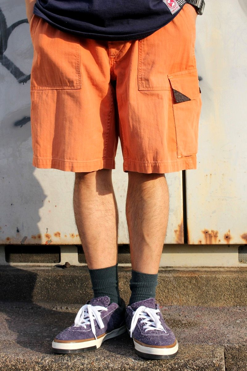 USED!!! POLO RALPH LAUREN / HERRINGBONE SHORTS (90'S) / washed orange