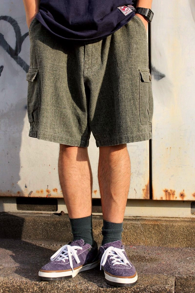 USED!!! STUSSY / CARGO SHORTS (90'S) / heather olive