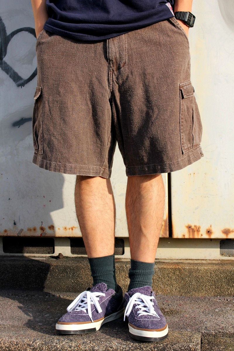 USED!!! STUSSY / CARGO SHORTS (90'S) / heather red brown