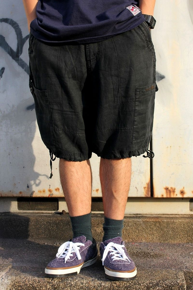 USED!!! TRIPLE FIVE SOUL / LINEN CARGO SHORTS (00'S) / black