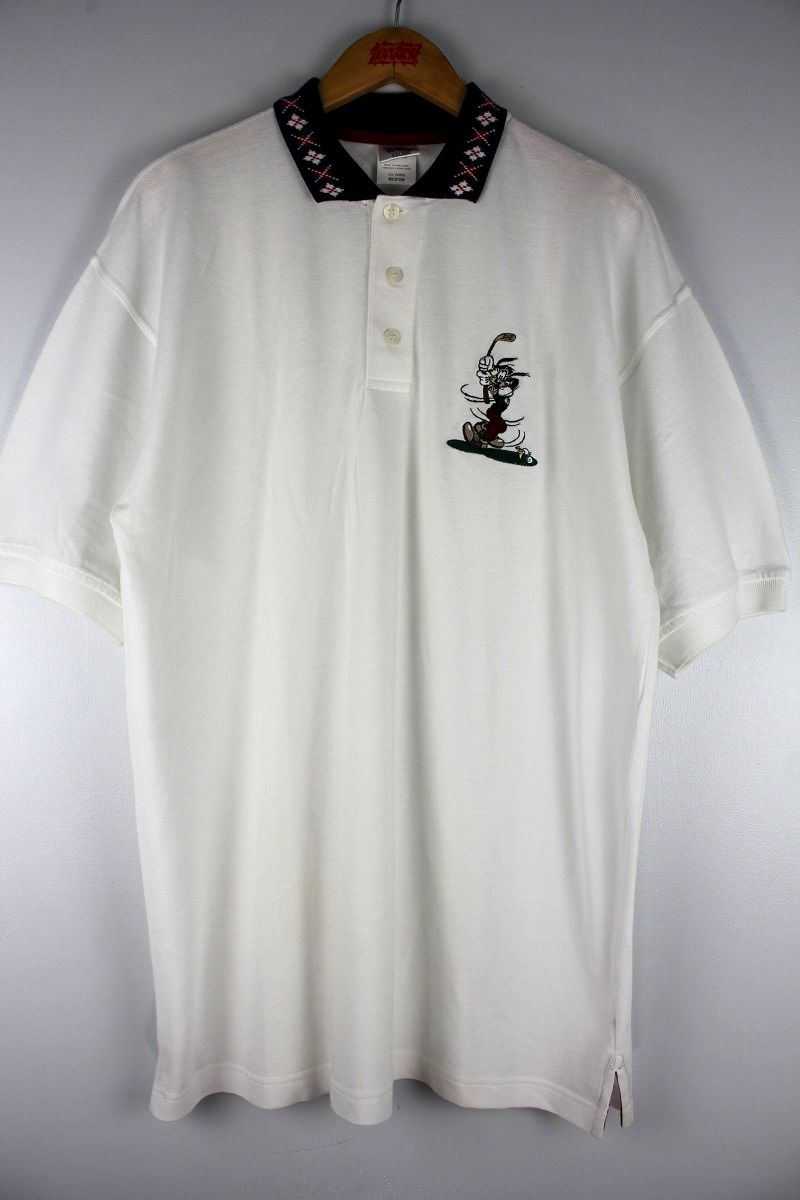 "USED!!! WALT DISNEY OFFICIAL / ""GOOFY"" POLO SHIRTS (90'S) / white×navy"