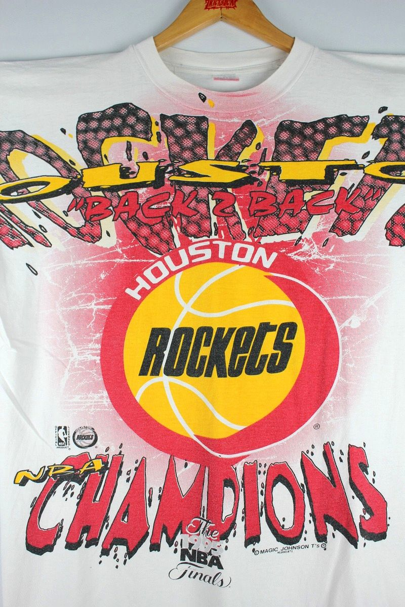 USED!!! HOUSTON ROCKETS / ALL OVER PRINT Tee (90'S) / white