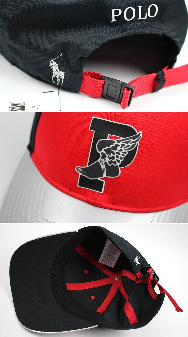 "POLO RALPH LAUREN / ""P-WING"" COLOR-BLOCKED STRAPBACK CAP / red×black×silver"