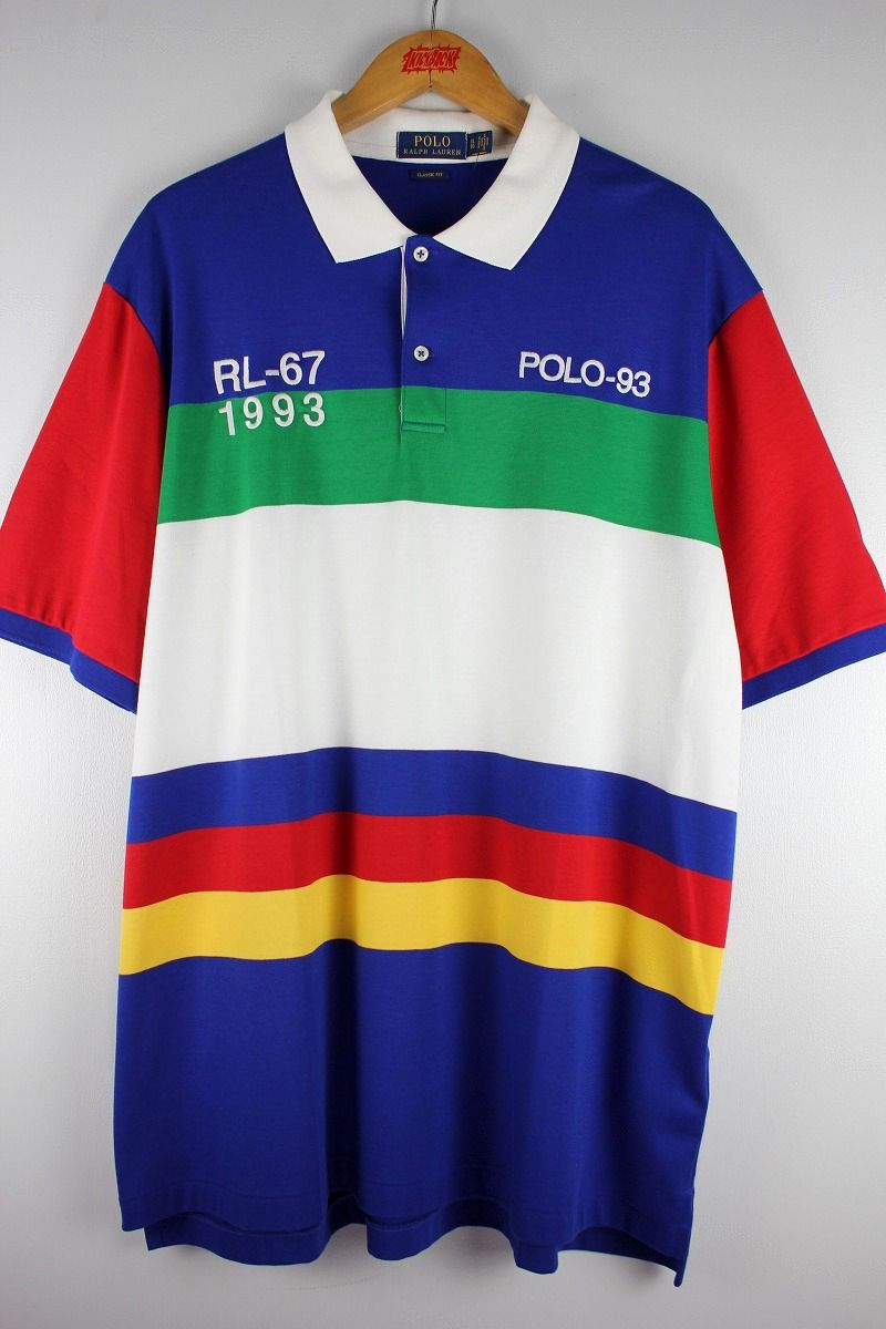 "POLO RALPH LAUREN / ""POLO-1993"" BORDER POLO SHIRTS / blue×white×green×red×yellow"