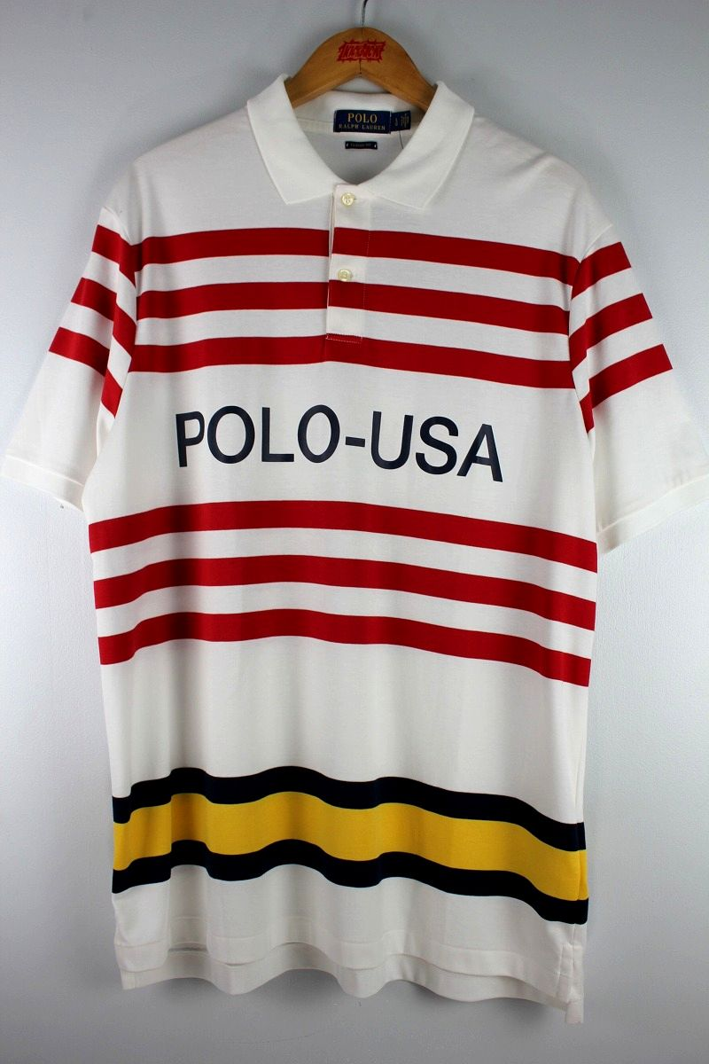 "POLO RALPH LAUREN / ""POLO-USA"" BORDER POLO SHIRTS / white×red×black×yellow"