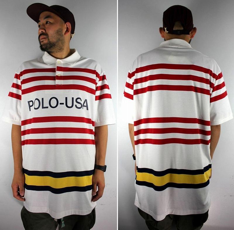 "POLO RALPH LAUREN / ""POLO-USA"" BORDER POLO SHIRTS / white×red×black×yellow"