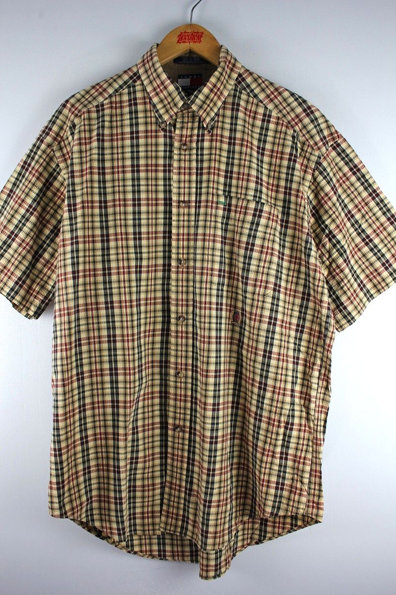USED!!! TOMMY HILFIGER / PLAID SS BUTTON DOWN LINEN SHIRTS (90'S) / beige
