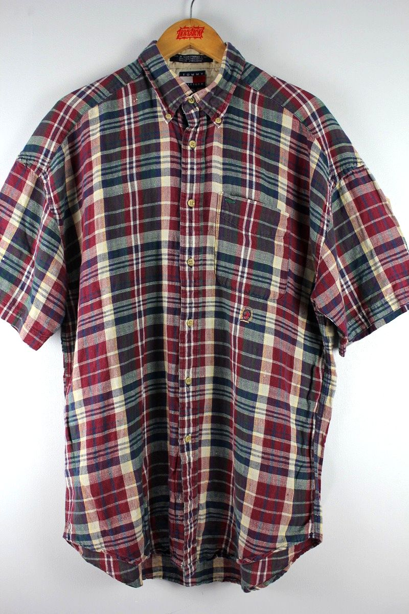 USED!!! TOMMY HILFIGER / PLAID SS BUTTON DOWN SHIRTS (90'S) / burgundy×dark green
