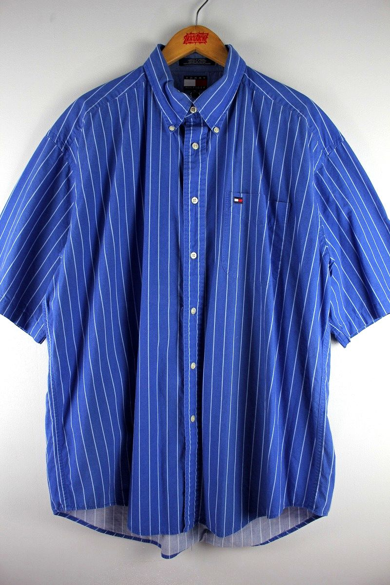 USED!!! TOMMY HILFIGER / STRIPED SS BUTTON DOWN SHIRTS (90'S) / blue×white