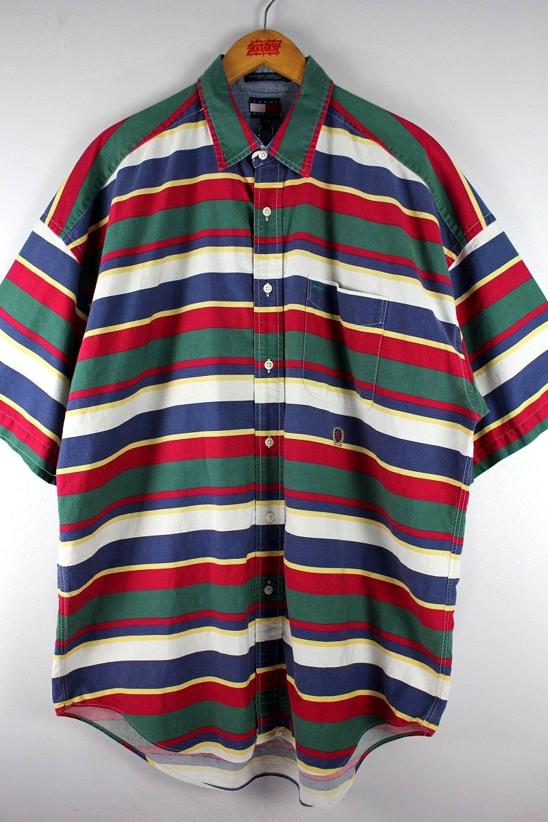 USED!!! TOMMY HILFIGER / BORDER SS SHIRTS (90'S) / multi-color
