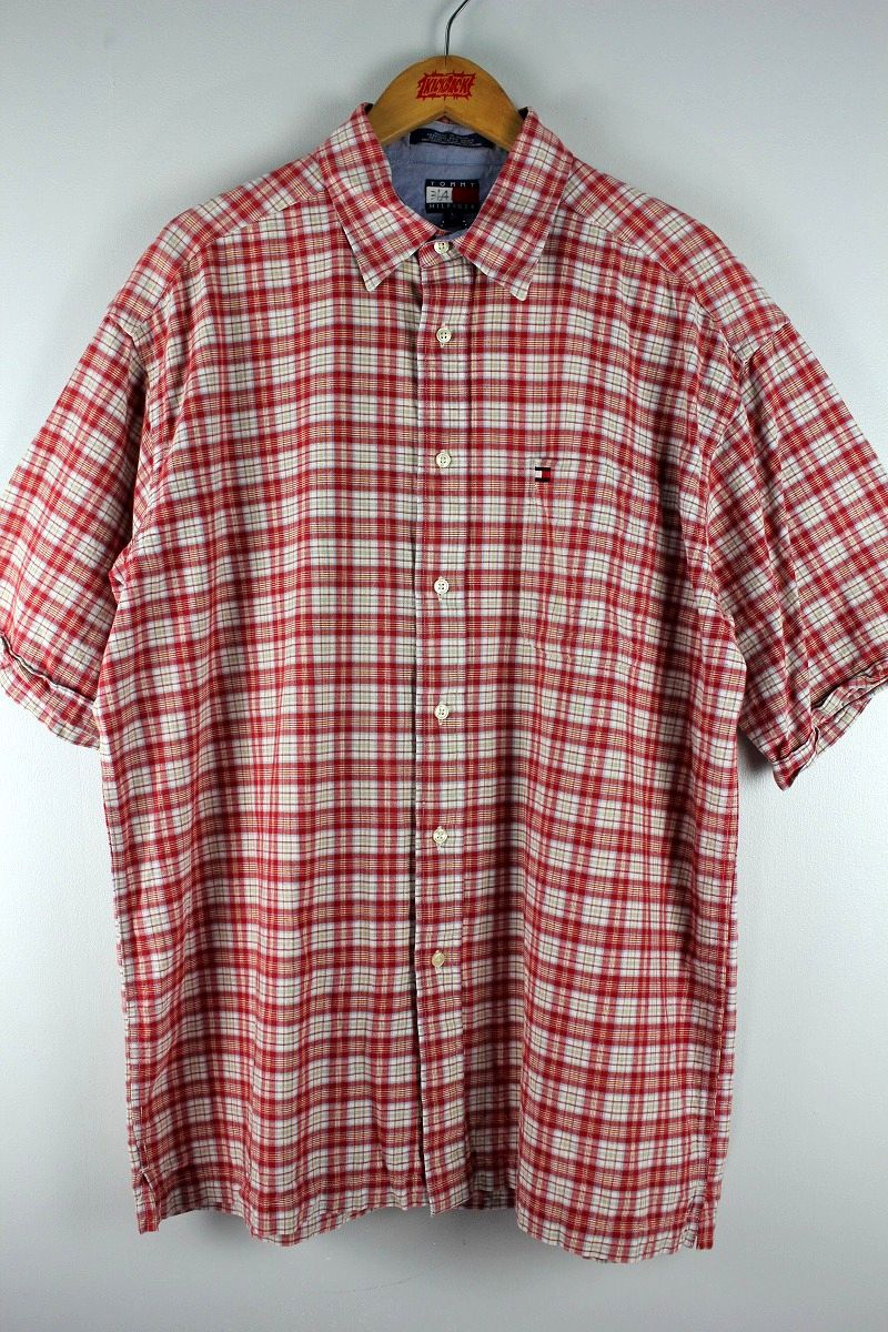 USED!!! TOMMY HILFIGER / PLAID SS SHIRTS (90'S) / red×white