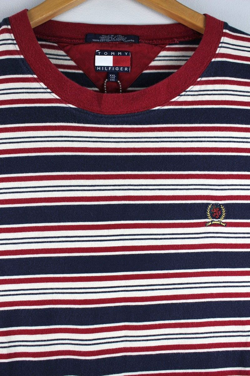USED!!! TOMMY HILFIGER / BORDER Tee (90'S) / cardinal×navy×white