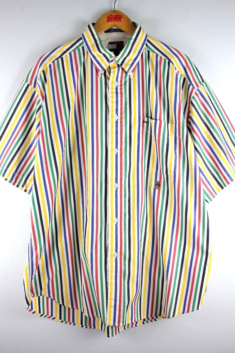 USED!!! TOMMY HILFIGER / STRIPED SS BUTTON DOWN SHIRTS (90'S) / multi color