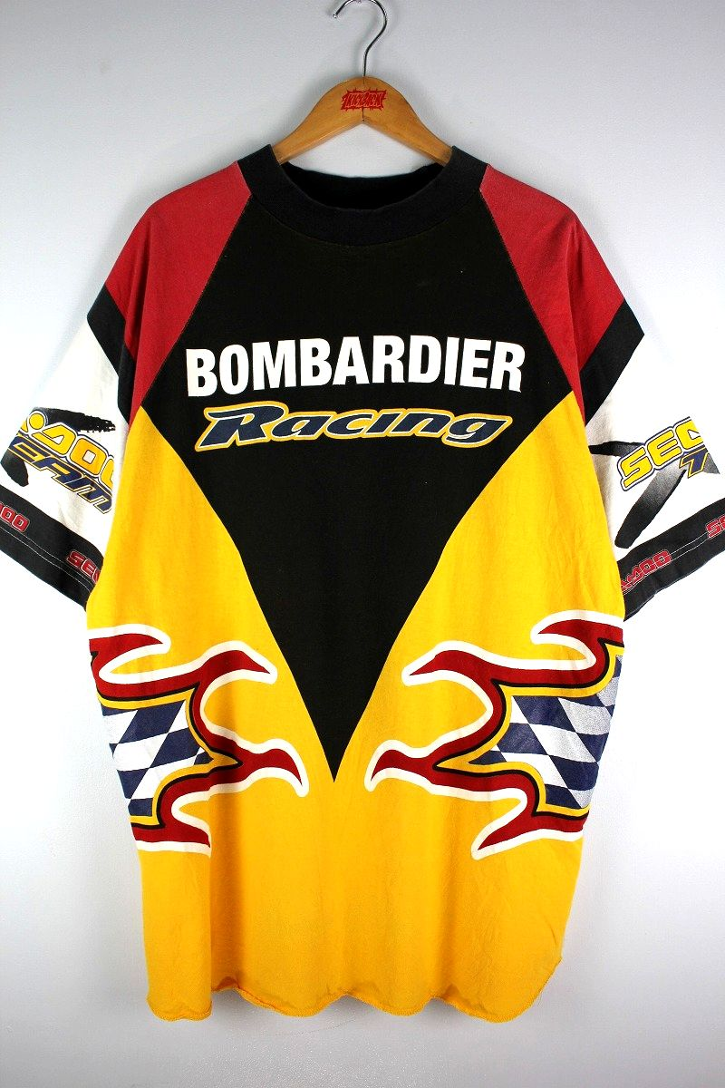 USED!!! RACING TEAM OFFICIAL / ALL OVER PRINT Tee (90'S) / black×red×white×yellow