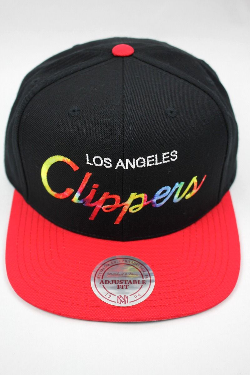 "MITCHELL&NESS / ""LOS ANGELS CLIPPERS"" TIE-DYE LOGO SNAPBACK CAP / black×red"