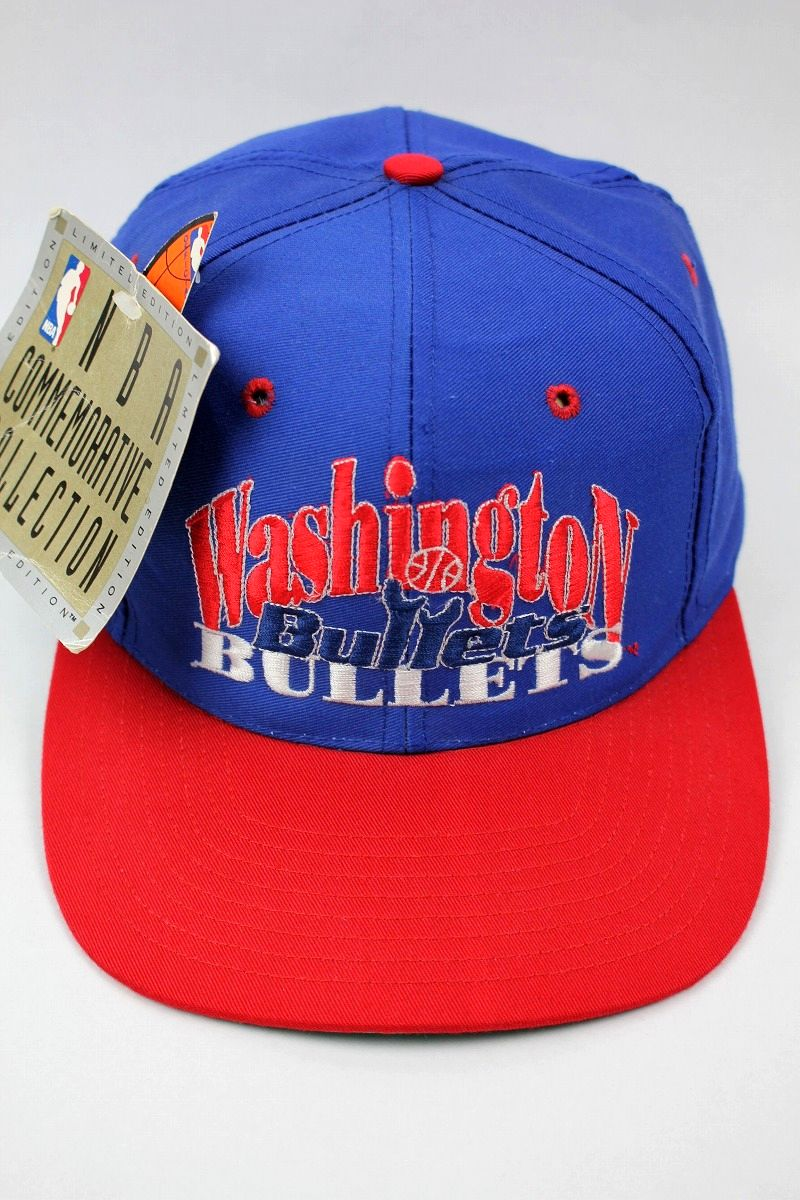 DEADSTOCK!!! WASHINGTON BULLETS / SNAPBACK CAP (90'S) / blue×red