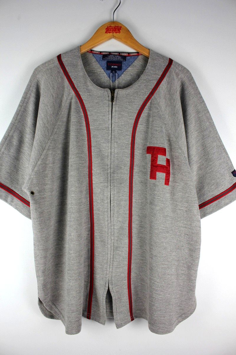 USED!!! TOMMY HILFIGER / ZIP UP BASEBALL KNIT JERSEY (90'S) / heather grey×red×green