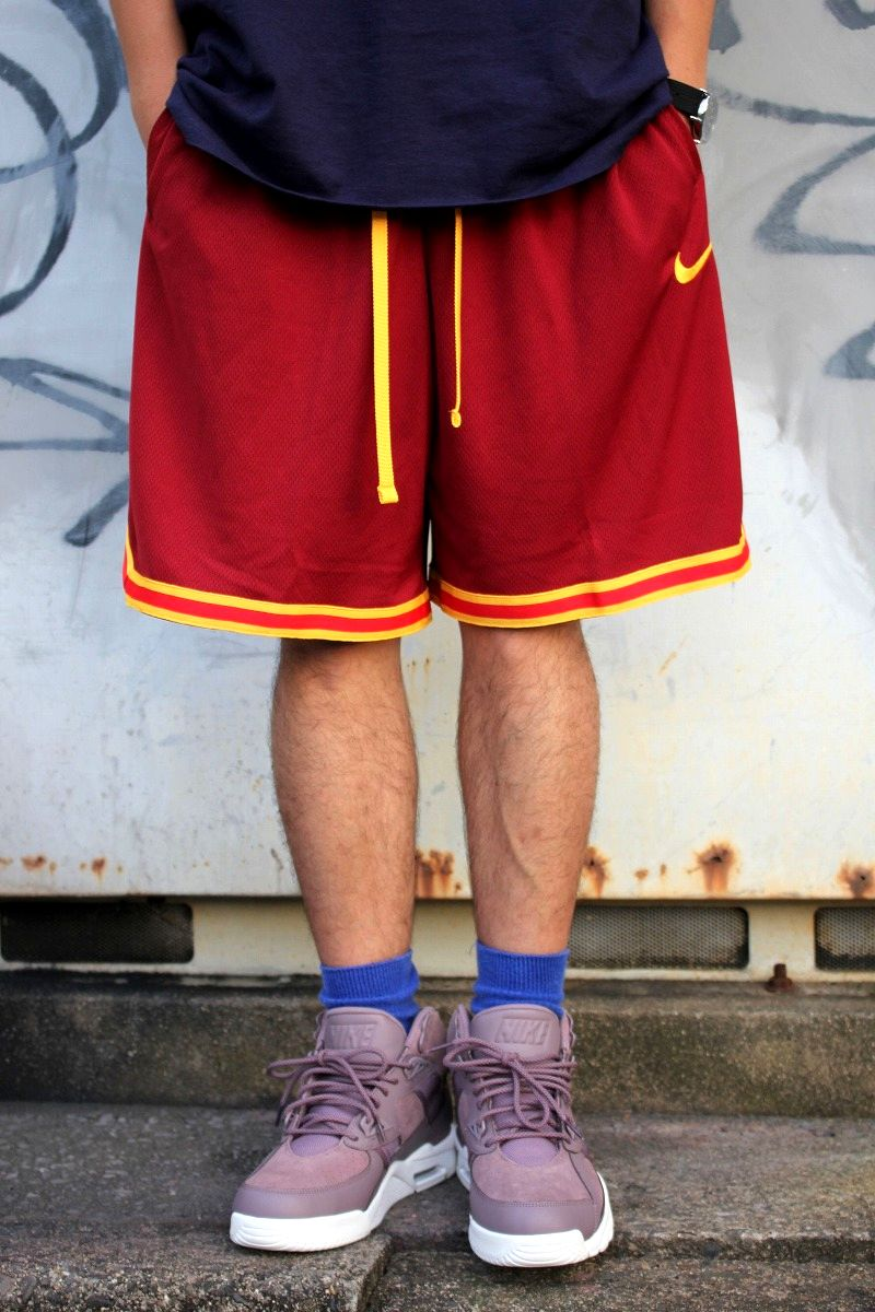 NIKE / MESH BASKET SHORTS / burgundy×navy×yellow