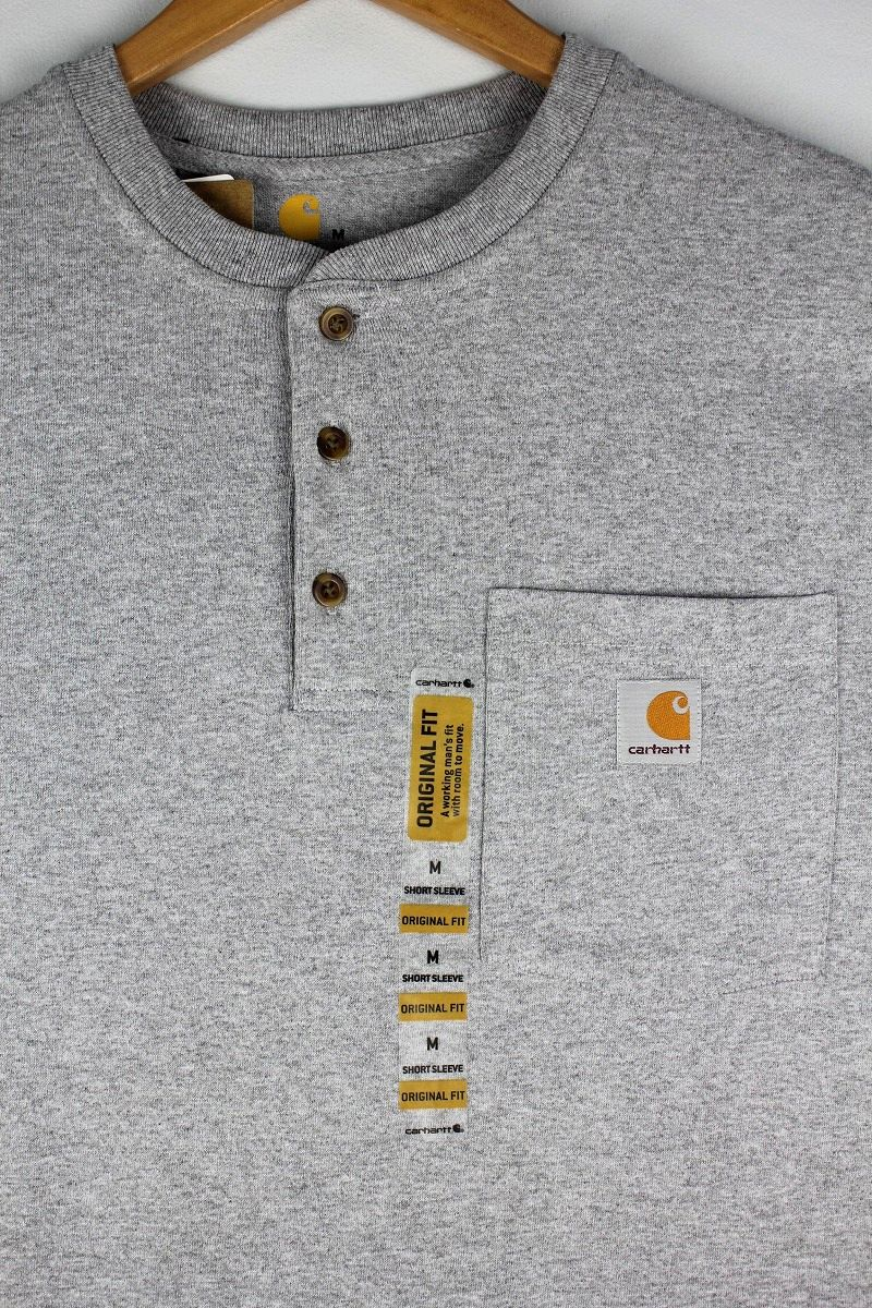 CARHARTT / HENLEY-NECK POCKET Tee / heather grey