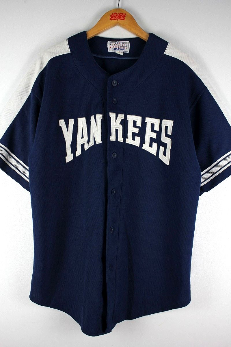 "USED!!! STARTER / ""NEWYORK YANKEES"" BASEBALL JERSEY (90'S) / navy×white"