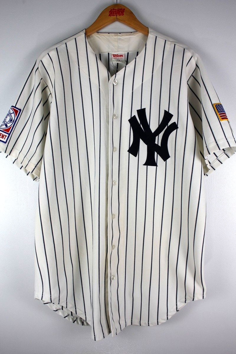 "USED!!! WILSON / ""NEWYORK YANKEES"" BASEBALL JERSEY (90'S) / white×navy"