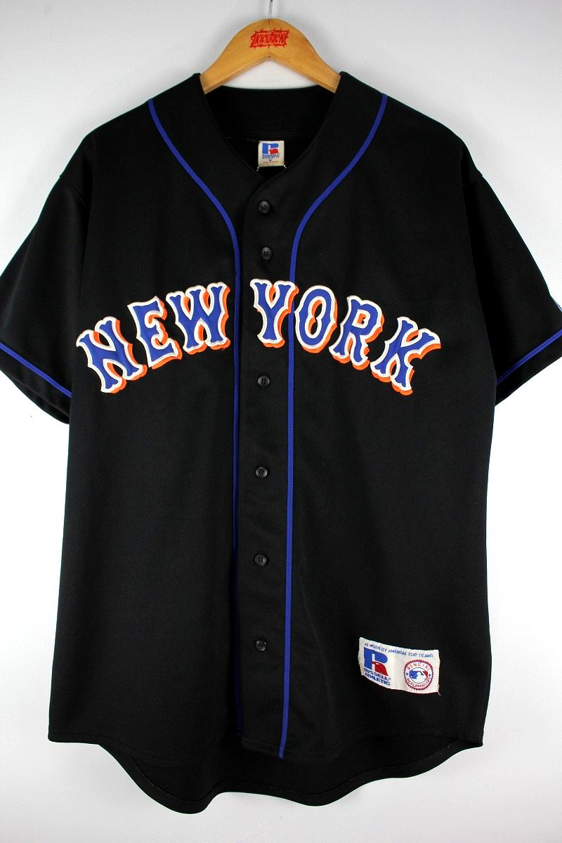 "USED!!! RUSSEL ATHLETIC / ""NEWYORK METS"" BASEBALL JERSEY (00'S) / black"