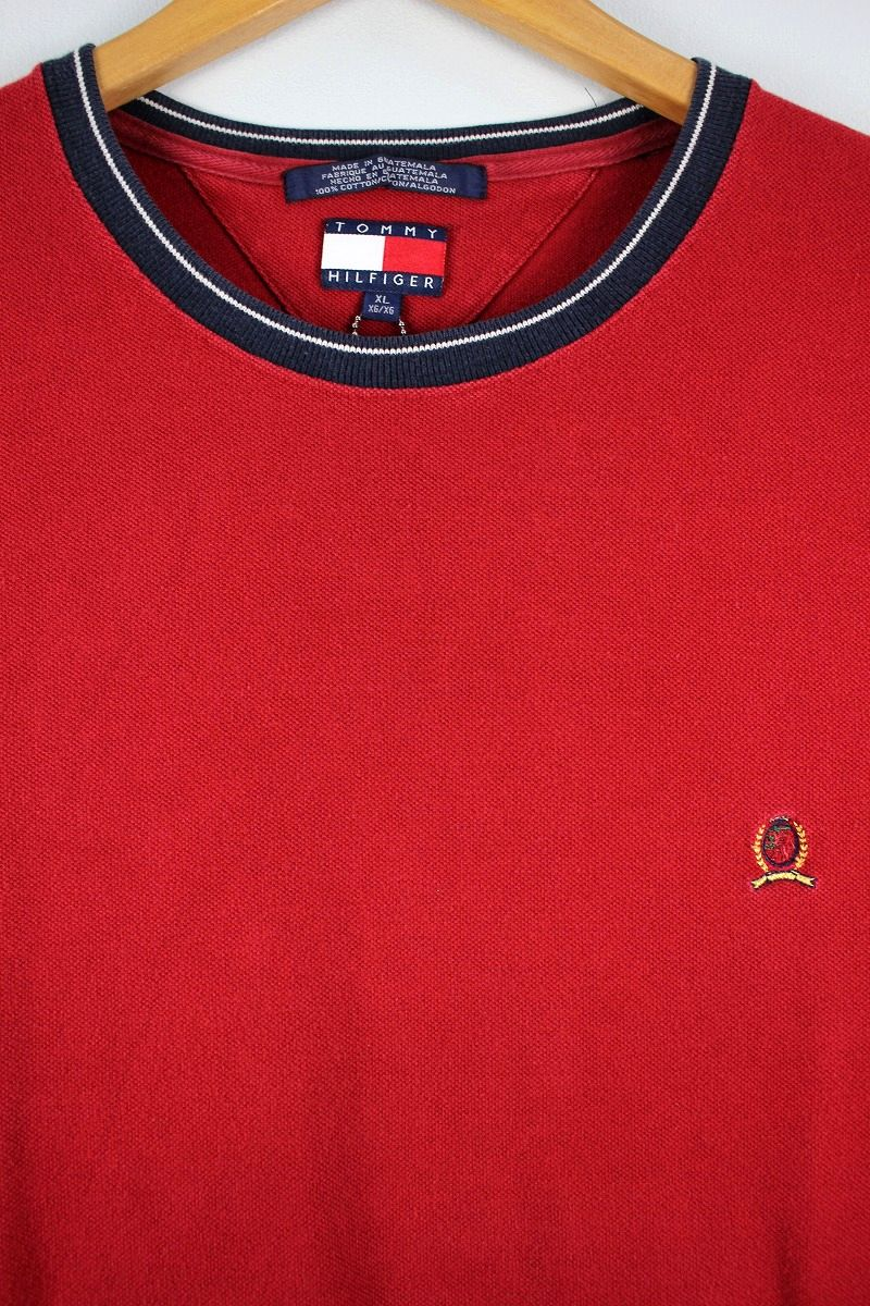 USED!!! TOMMY HILFIGER / MOSS STITCH ONE POINT LOGO Tee (90'S) / red×navy