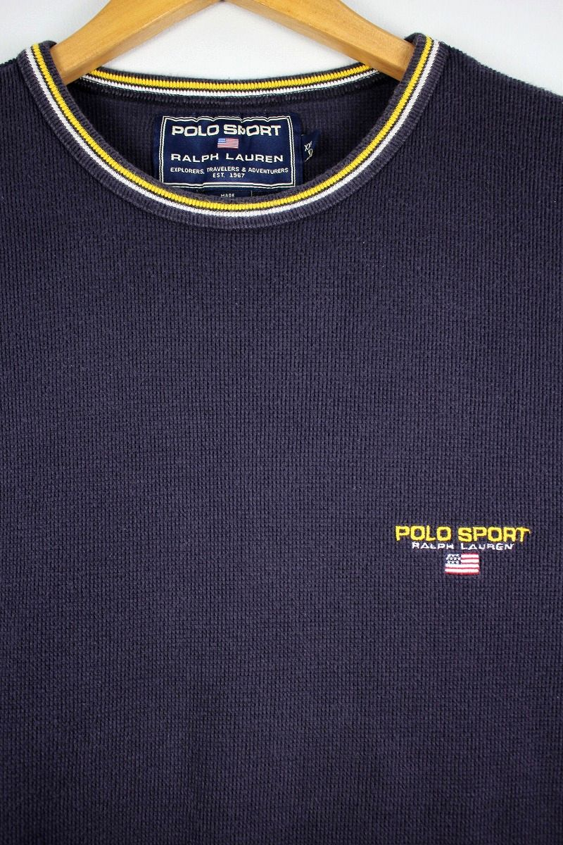 USED!!! POLO SPORT / MOSS STITCH ONE POINT LOGO Tee (90'S) / washed navy