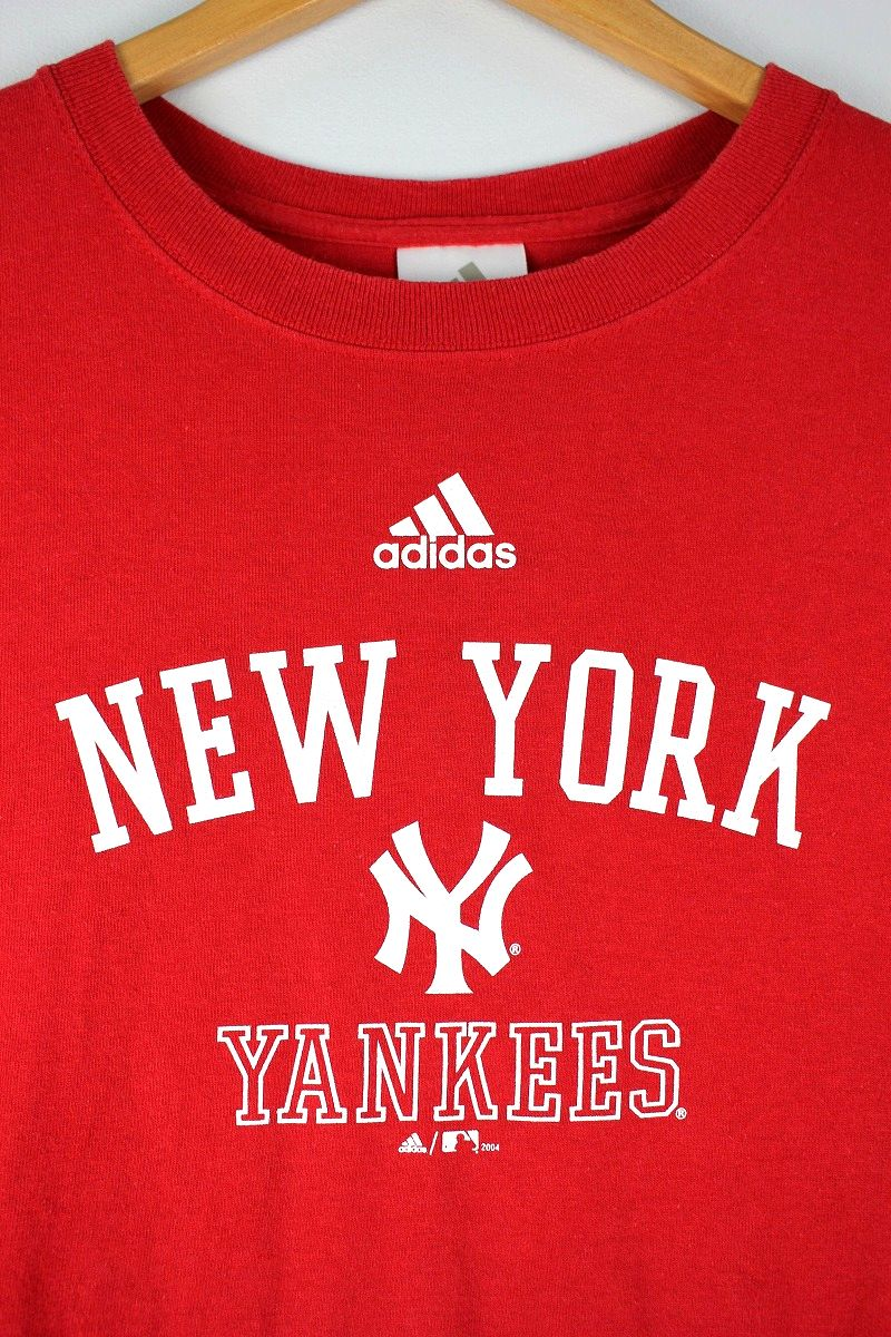 "USED!!! adidas / ""NEWYORK YANKEES"" Tee (04'S) / red"
