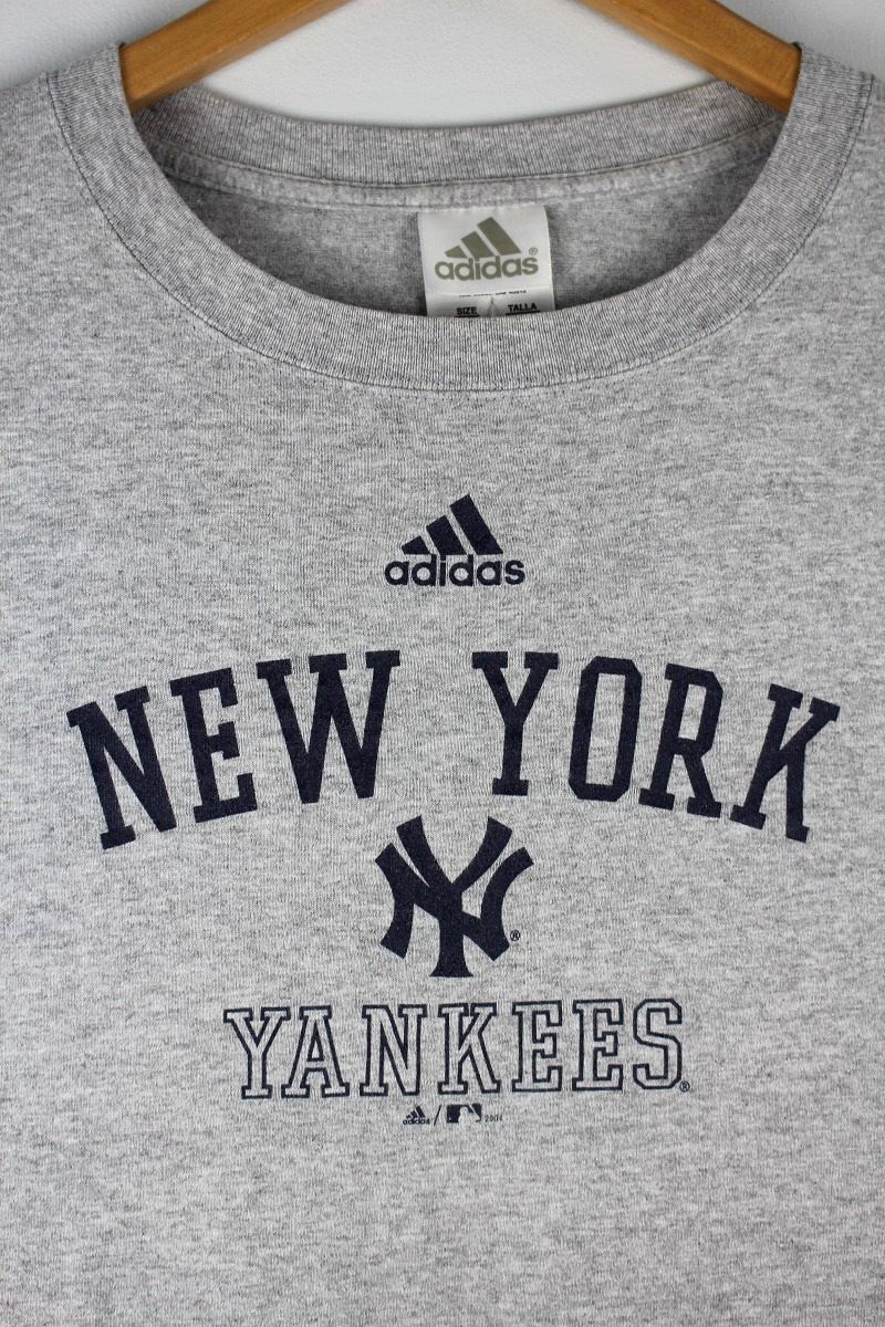 "USED!!! adidas / ""NEWYORK YANKEES"" Tee (04'S) / heather grey"