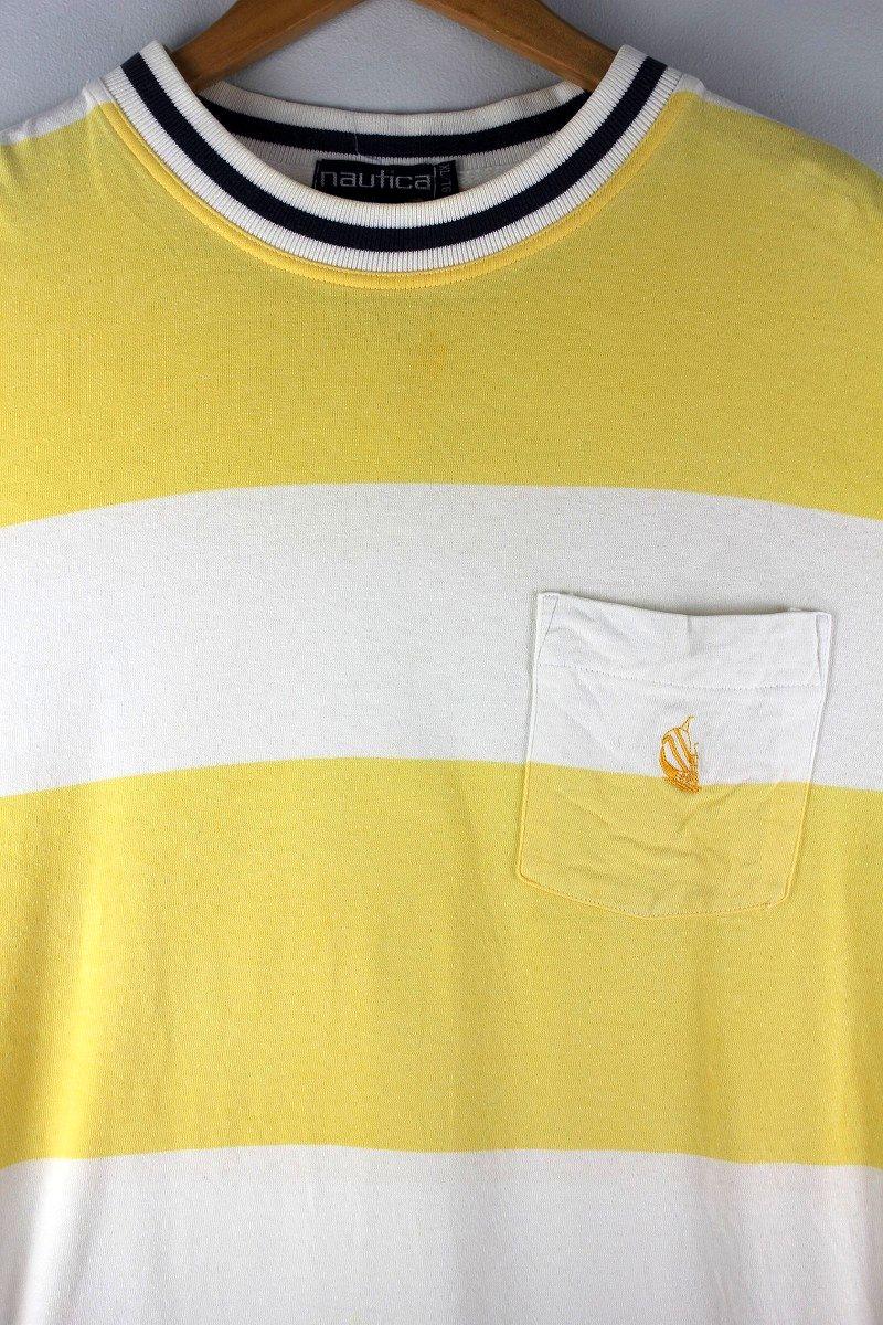 USED!!! NAUTICA / FAT BORDER Tee (90'S) / light yellow×white