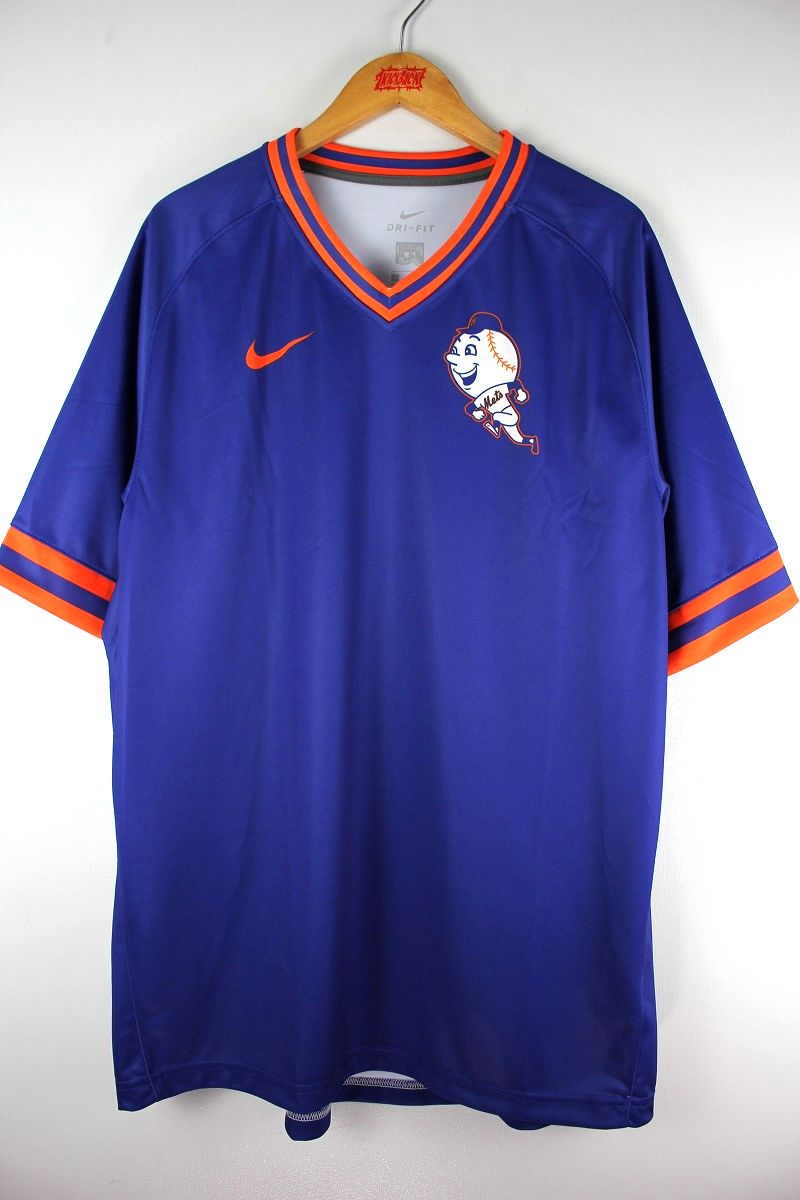 "NIKE / ""NEWYORK METS"" V-NECK JERSEY / blue×orange"