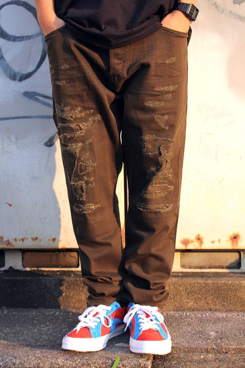 POLO RALPH LAUREN / SLIM-FIT CRUSH COLOR DENIM PANTS / olive