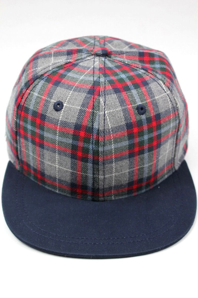 LACOSTE / PLAID FLANNEL STRAPBACK CAP / navy