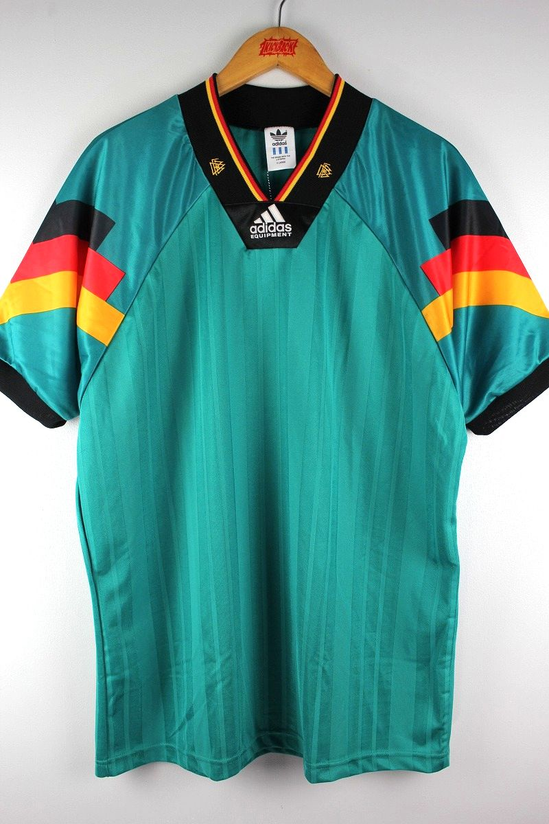 "USED!!! adidas EQUIPMENT / ""GERMANY"" SOCCER JERSEY (90'S) / turquoise green×black×red×yellow"