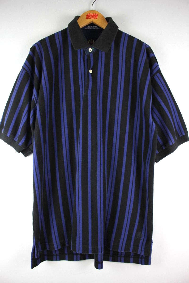 USED!!! TOMMY HILFIGER / STRIPED POLO SHIRTS (90'S) / black×blue