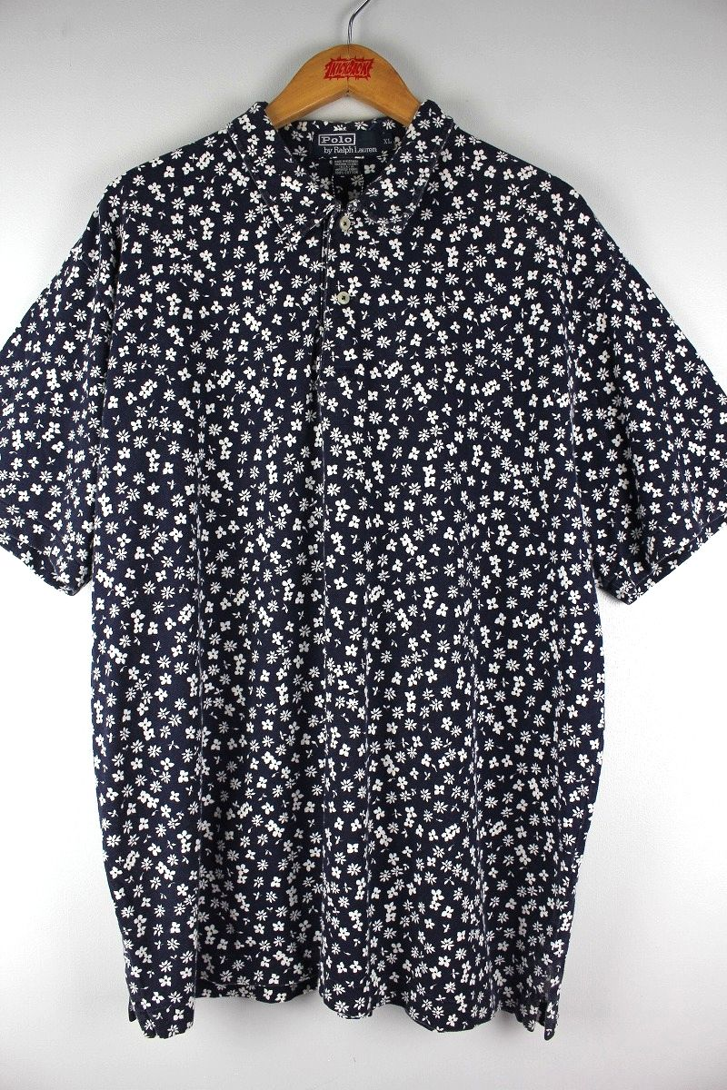 USED!!! POLO RALPH LAUREN / FLOWER PATTERN POLO SHIRTS (90'S) / navy
