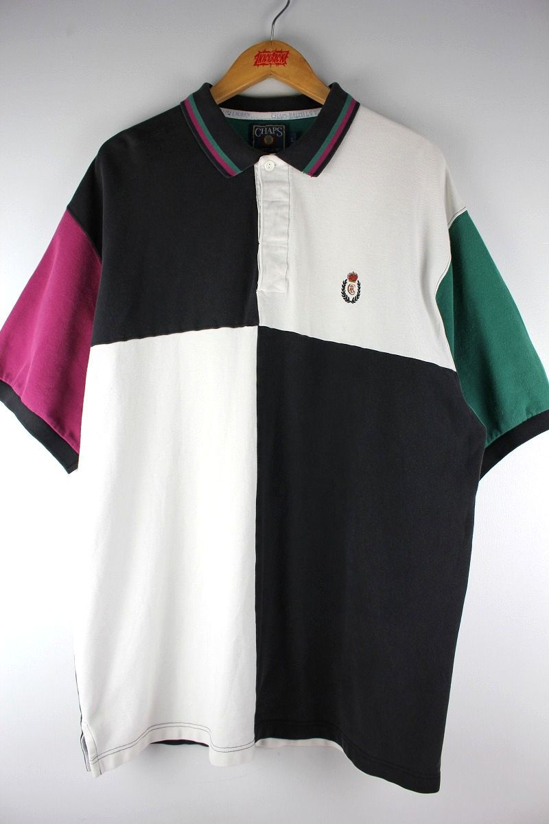 USED!!! CHAPS RALPH LAUREN / COLOR BLOCK POLO SHIRTS (90'S) / black×white×purple×green