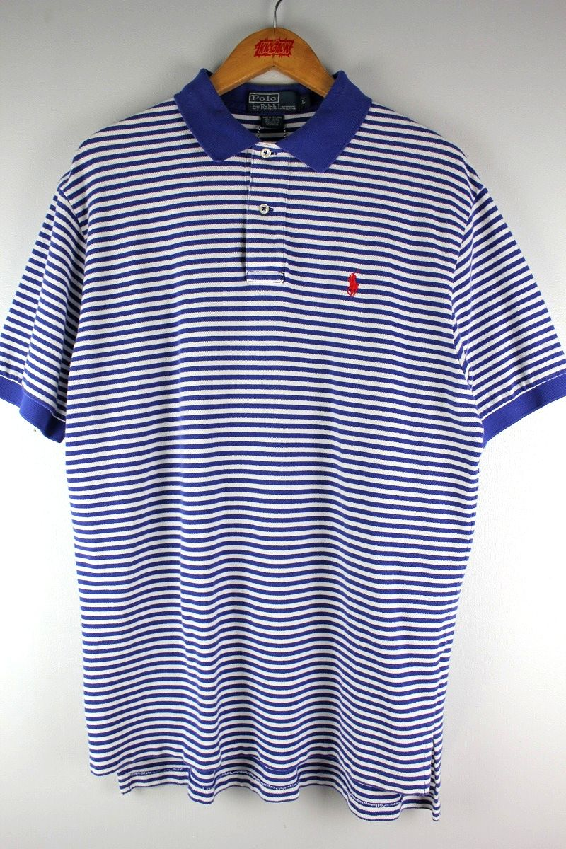 USED!!! POLO RALPH LAUREN / BORDER POLO SHIRTS (90'S) / blue×white