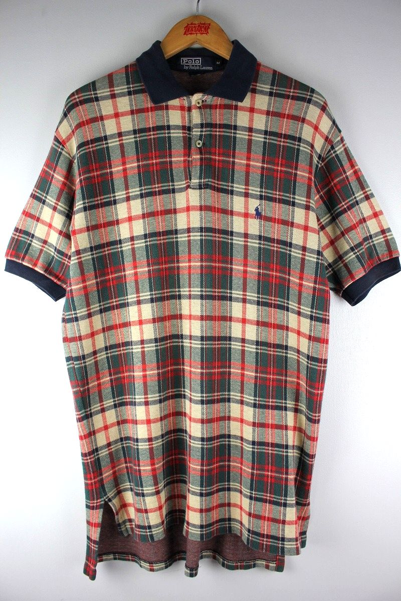 USED!!! POLO RALPH LAUREN / PLAID POLO SHIRTS (90'S) / navy