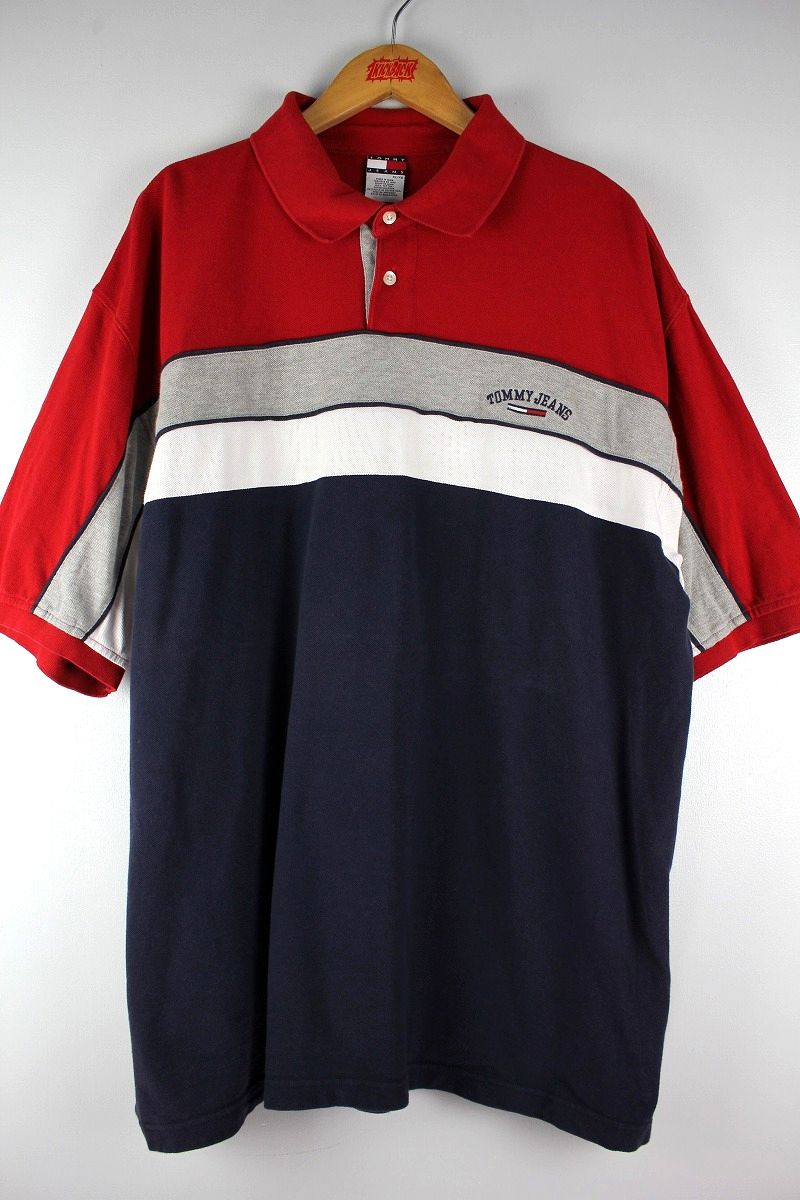 USED!!! TOMMY HILFIGER / BORDER POLO SHIRTS (90'S) / red×navy×grey×white