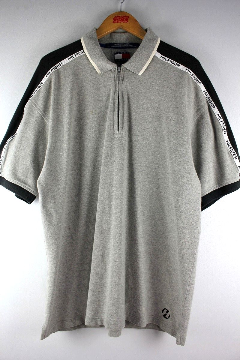 USED!!! TOMMY HILFIGER / HALF-ZIP POLO SHIRTS (90'S) / heather grey×black×white