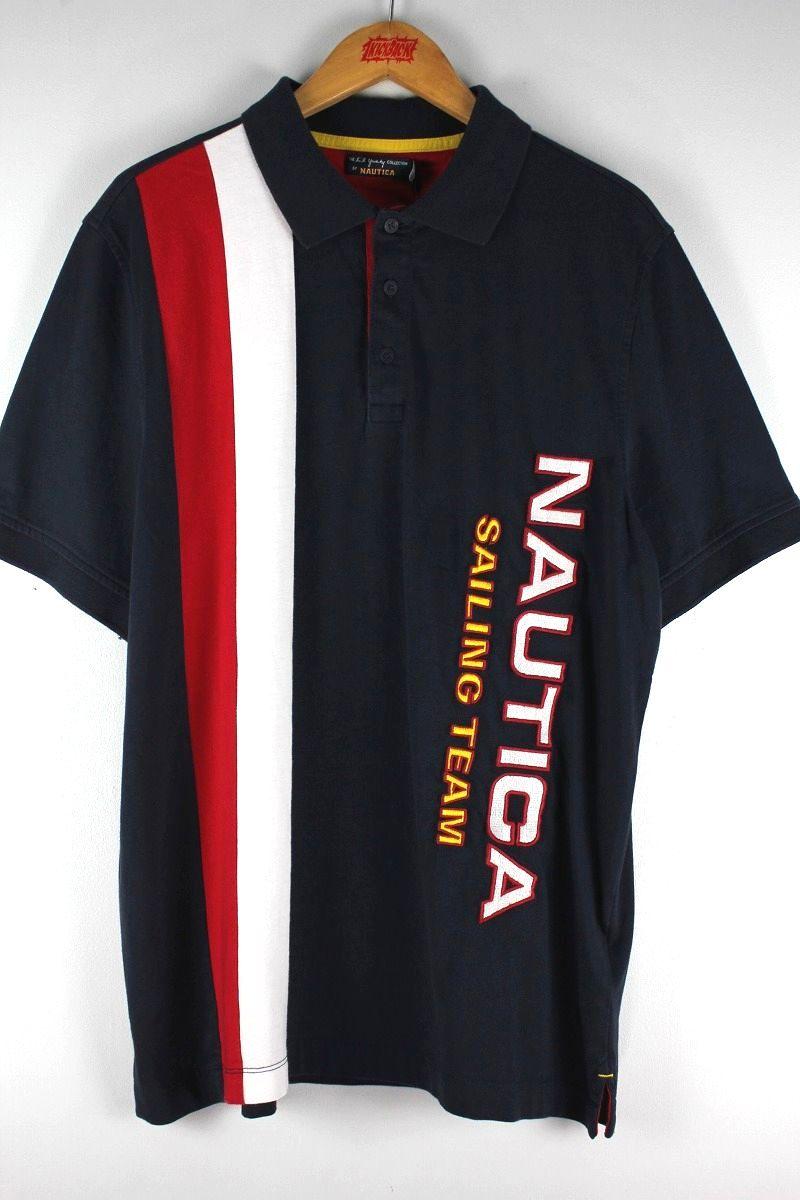 "NAUTICA×LIL YACHTY / ""SAILING TEAM"" POLO SHIRTS / navy×white×red"