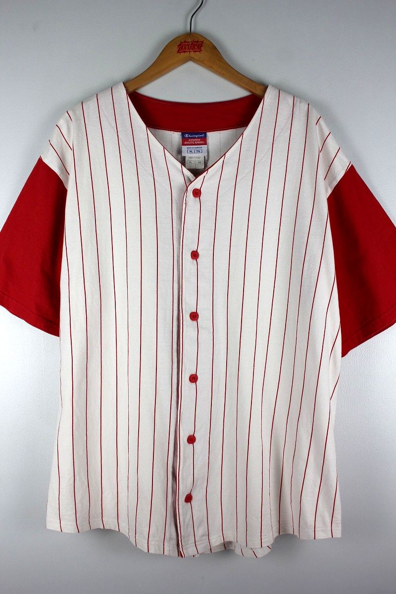 USED!!! CHAMPION / COTTON BASEBALL JERSEY (90'S) / white×red
