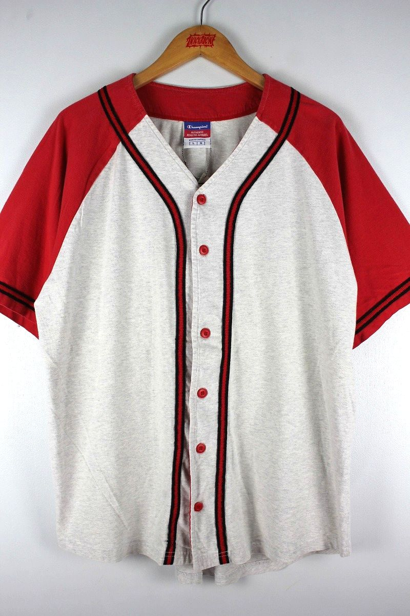USED!!! CHAMPION / COTTON BASEBALL JERSEY (90'S) / red×light heather grey